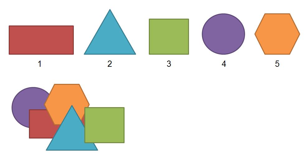 Rechteck, Dreieck, Quadrat, Kreis Sechseck