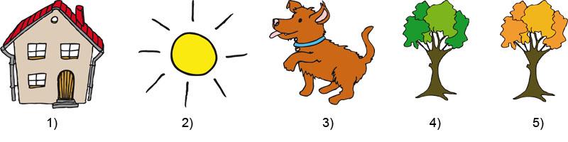 Haus, Sonne, Hund, Baum grün, Baum bruan