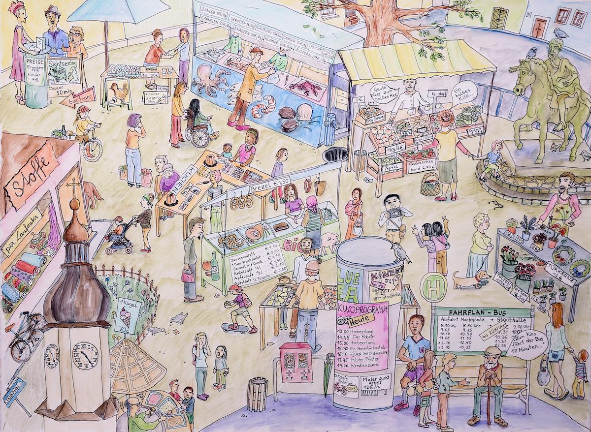 Marktplatz-Bild mit vielen möglichen Rechengeschichten